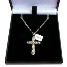 Memorial Necklace with Ornate Cross and Engraving
